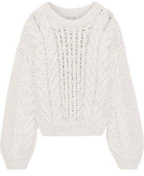 Rebecca Minkoff Blake Faux Pearl-embellished Cable-knit Cotton-blend Sweater