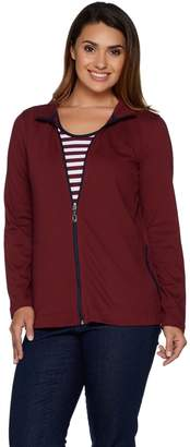 Denim & Co. Active Zip Front Jacket with Striped Tank