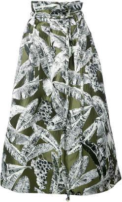 Oscar de la Renta leaf print full skirt