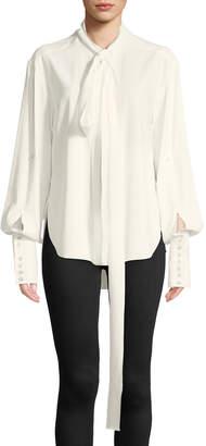 Oscar de la Renta Tie-Neck Long-Sleeve Cotton Tux Blouse