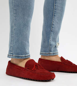 Asos DESIGN Wide Fit Driving Shoes In Red Suede With Tie Front