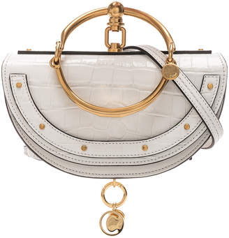 Chloé Small Nile Embossed Minaudiere in Brilliant White | FWRD