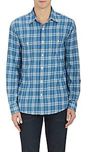 Faherty MEN'S ARROW-PLAID COTTON SHIRT-BLUE SIZE XS
