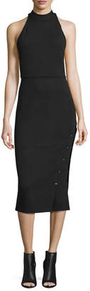 Haute Hippie Sleeveless Buttoned Turtleneck Midi Dress, Black