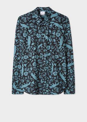 Paul Smith Men's Tailored-Fit Black Cotton 'Urban Fox' Print Shirt