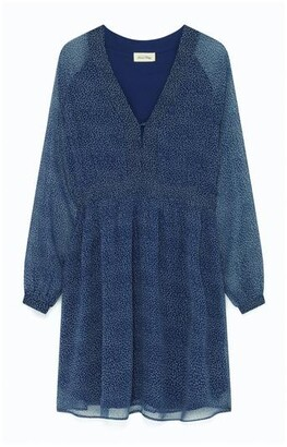 American Vintage Peo 101 B Blue Floral Dress - L - Blue