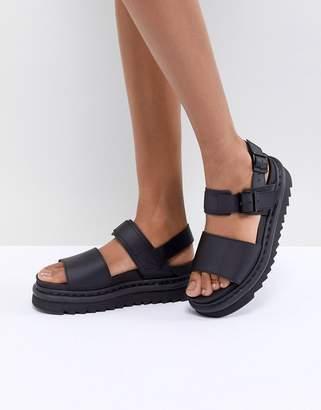 Dr. Martens Voss Black Leather Flat Sandals