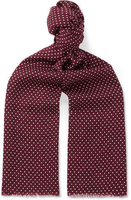 Tom Ford Polka-Dot Wool, Silk And Cashmere-Blend Twill Scarf