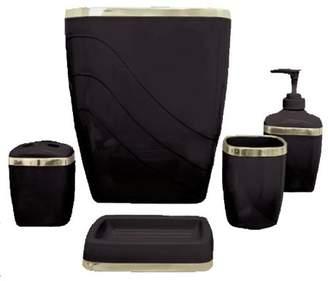 Carnation Home Fashions Black/Gold 5 Piece Bath Ensemble