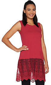 Kathleen Kirkwood Tunic Length Tank Top withLace Extender