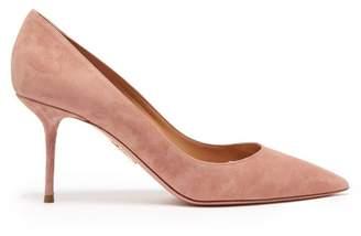 Aquazzura Purist 75 Suede Pumps - Womens - Light Pink