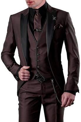 Pretygirl Men's 3 Piece Slim Fit One Button Groom Best Man Groomsmen Men Suit