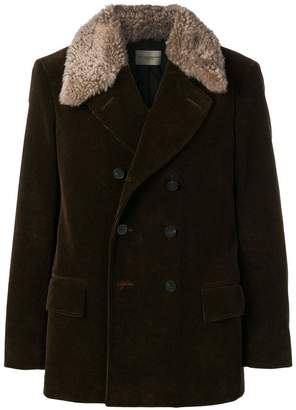 Holland & Holland corduroy peacoat with shearling collar