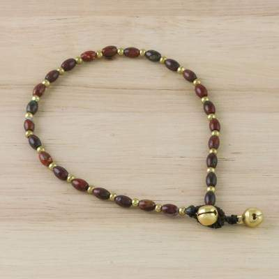 Boho Bliss Handmade Jasper and Brass Beaded Anklet from Thailand