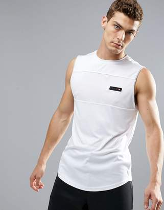 Ellesse Sport Tank With Mesh Panel In White