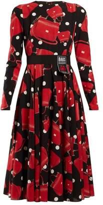 Dolce & Gabbana Sicily Print Silk Blend Charmeuse Dress - Womens - Black Red