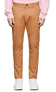 Barneys New York MEN'S GROSGRAIN-ACCENTED STRETCH-COTTON TROUSERS-BEIGE, TAN SIZE 36