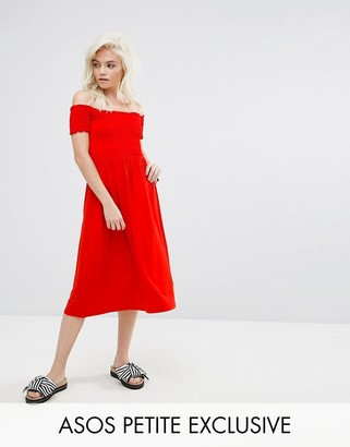 Asos Petite Off Shoulder Shirred Midi Sundress
