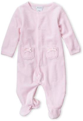 Absorba Newborn Girls) Pink Velour Cloud Footie