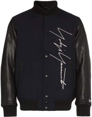 Yohji Yamamoto logo embroidered wool baseball jacket