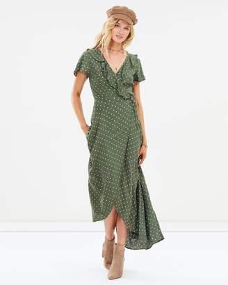 Polly Frill Neck Wrap Maxi Dress