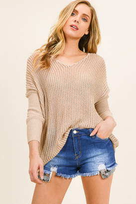 Montrez Taupe crochet dolman sleeve boho sweater