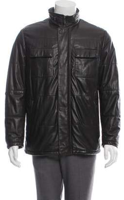 Armani Collezioni Fur-Lined Leather Utility Jacket brown Fur-Lined Leather Utility Jacket