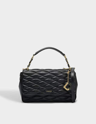 Free Returns At Monnier Freres Dkny Diamond Quilted Medium Flap Shoulder Bag In Black Lamb Na Leather