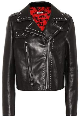 Miu Miu Embellished leather jacket
