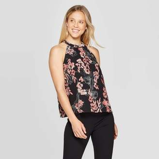 A New Day Women's Floral Print Regular Fit Sleeveless Halter Neck Top Black