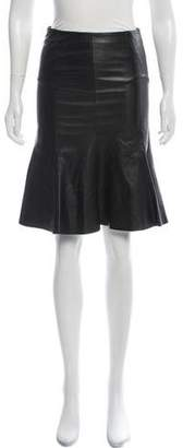 Prada Flared Leather Skirt