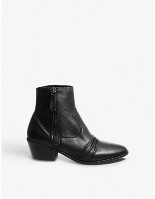 Office Acute ruched detail leather ankle boots