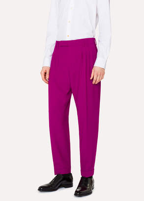 Paul Smith Men's Tapered-Fit Purple Pleated Wool Pants