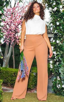 PrettyLittleThing Nude High Neck Wide Leg Jumpsuit