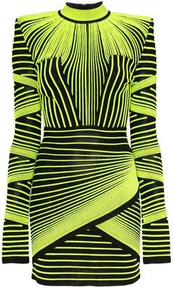 Balmain neon-stripe mini dress