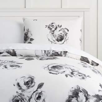 Pottery Barn Teen The Emily & Meritt Bed Of Roses Duvet Cover, Twin/Twin XL, Black/Ivory