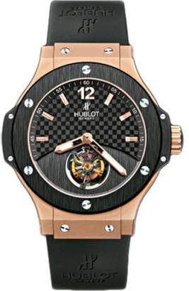Hublot Tourbillon Solo Big Bang 18K Rose Gold & Black Rubber with Black Carbon Fiber Dial 44mm Mens Watch