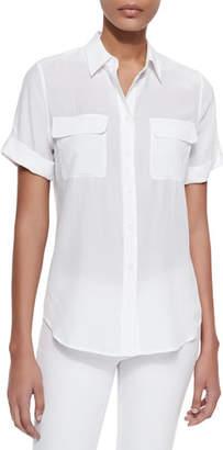 Equipment Short-Sleeve Slim Signature Silk Blouse, Bright White