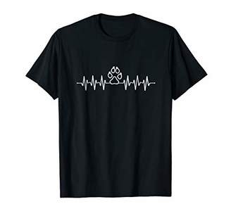 Dog Paw Print Heart Beat Funny Gift T Shirt