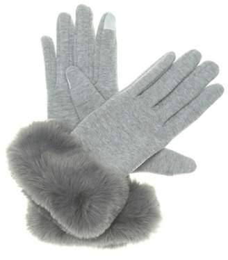 Kelly & Katie Faux Fur Trim Touch Screen Gloves