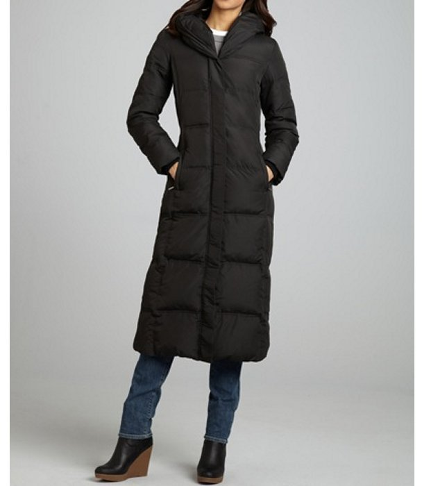 MICHAEL Michael Kors black quilted pillow collar full length down jacket