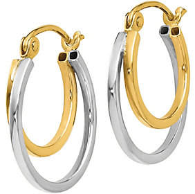 QVC 14K Gold Two-Tone Double Hoop Earrings