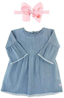 RuffleButts Frayed Chambray Babydoll Dress w/ Grosgrain Bow Headband, Size 3M-3T