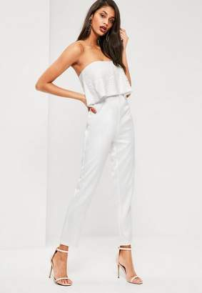 Missguided White Lace Top Bandeau Romper