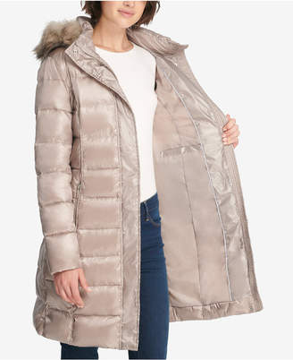 DKNY Faux-Fur-Trim Belted Puffer Coat
