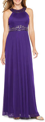 ONE BY EIGHT Decode Sleeveless Beaded Halter Evening Gown