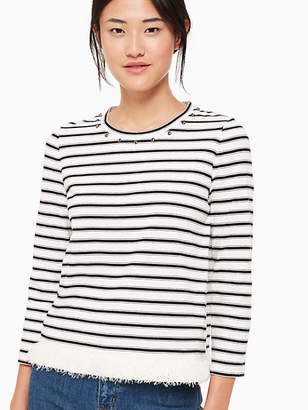Kate Spade Stripe fringe knit top