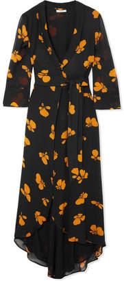 Ganni Fairfax Floral-print Chiffon Wrap Dress
