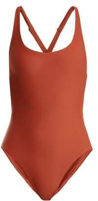 JADE SWIM Asterik Scoop Neck Swimsuit - Womens - Dark Orange