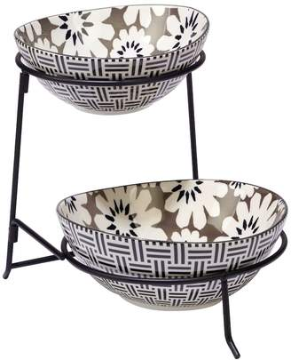 Certified International Grey Floral 2-Tier Server with Oval Bowls